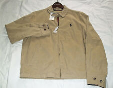 POLO Ralph Lauren Classic Cotton Full Zip Tan Jacket Navy Pony Men's Size M
