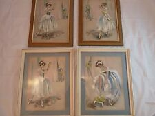 FOUR SIGNED CYDNEY GROSSMAN PASTEL & WATERCOLOR ON PAPER BALLERINAS ORIGINAL ART