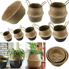 Seagrass Belly Basket Flower Plants Pots Laundry Storage Bag Room Decor 2 Styles