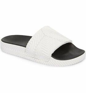 adidas x Alexander Wang AW Adilette Rubber Pool Slide Sandals White Black D97932