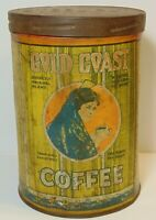 Old Vintage 1920s GOLD COAST COFFEE TIN GRAPHIC TALL 1 POUND CAN CHICAGO IL USA