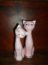 2 Pair of Mid Century Vintage Pink Long Neck Cat Figurines