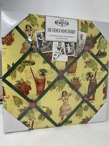 "New French Memo Board Tiki Tropical Drinks Hula Girl Hawaii Theme Fabric 12""x12"""