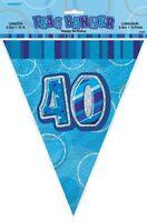 GLITZ BLUE FLAG BANNER 40TH BIRTHDAY 3.6M/12' BIRTHDAY PARTY DECORATION