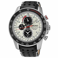 New Seiko SSC359 Sportura Solar Chronograph Stainless Leather Strap Men's Watch