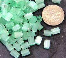 Tube Beads, GREEN w/SATIN Finish, 6x4mm, Czech Glass Beads, 50 Pieces, 0121