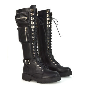 Womens Lace Up Knee High Boots Ladies Black Synthetic Leather Pockets Biker Goth