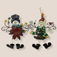 "Lot of 2 Snowman Christmas Ornament 6.5"" Poinsettia Tree Body Stars Metal"