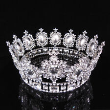 """6.7"""" Wide Large Silver White Crystal Gold King Crown Wedding Prom Party Pageant"""