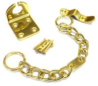 Home Security Door Chain & Screws Polished Brass Lock Safety Guard Extra Strong