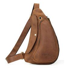 Vintage Leather Sling Bag For Men Chest Pack One Strap Backpack Shoulder Bag