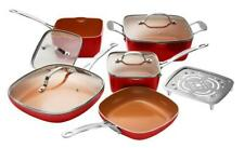 Gotham Steel Square 10-Piece Nonstick Copper Frying Pan & Cookware Set - RED!