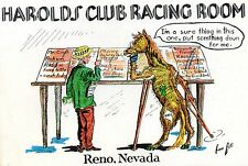 OLD MAN & OLD HORSE CHECKING RACE SHEETS,HAROLDS CLUB RACING ROOM-RENO,NV~SIGNED