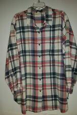 * CHEROKEE Long sleeve button up blouse- Pastel Plaid- 1 pocket- cotton- Sz 3X