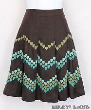 Ann Taylor Loft Brown Linen Pleated Skirt Aqua Blue Green Chevron Embroidery 2P