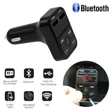 US Universal Car Wireless FM Bluetooth Transmitter MP3 Dual USB Charger Black