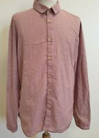 EE585 MENS LEVI STRAUSS RED WHITE CHECK FITTED LONG SLEEVE SHIRT UK XL