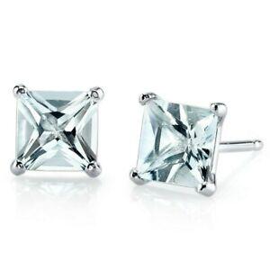 1.71 ct Princess Cut Blue Aquamarine Stud Earrings in 14K White Gold