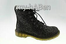 Damenschuhe Trend 2016 Glitzer Hipster Club Boots Neu Gr. 38 Black J5162