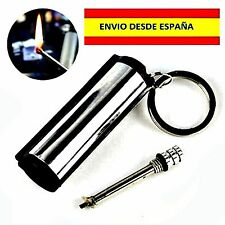 CERILLA Permanente Metal Match Box Lighter Striker Keyring Gadget Camping pesca
