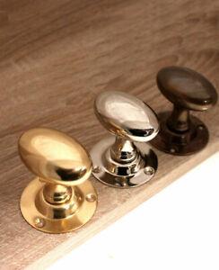Victorian Period Oval Pair Mortice Door Knob Handle Set Brass / Nickel / Antique