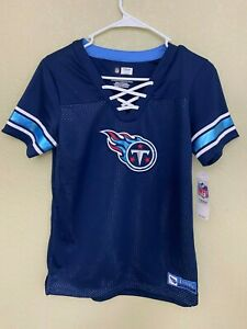 Women's NFL Team Apparel Tennessee Titans Lace-Up V-Neck Jersey Shirt NWT