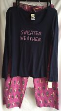 NWT NITE*NITE MUNKI MUNKI Pajamas Navy Knit Top/ Plum Pink Flannel Long Pant M