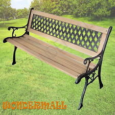 Wooden Garden Bench Outdoor Furniture Park Patio Seat Chair Timber Metal Decor