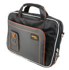 Padded Tablet Carry Case in Black & Orange for Kurio 10S w/ Zip Pocket