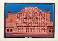 Rajasthani Painting Of Hawa Mahal Palace Handmade Miniature Fine Art On Cloth