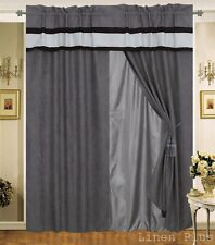 Gray Black Micro Suede New Window Curtain Panels Liner Tassel Set LinenPlus