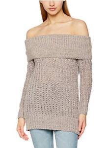New Look Women's Twist Yarn Bardot Jumper Pink (Nude ) Size 10 RRP £30