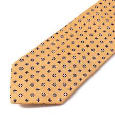 New E.MARINELLA NAPOLI Peach Orange and Navy Floral Print Silk Tie