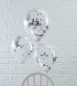 Silver Confetti Filled Balloons x 5 - Party/Wedding Decoration