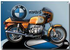 L A3 Tamaño BMW R90/S Moto letrero metal, 1970's BMW MOTO