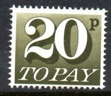Postage Due 1971 D86 20p Olive-Brown Unfranked no gum