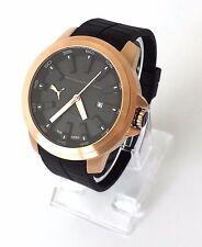 Puma Herren Uhr Drill schwarz rosé gold Silikon Datum PU103901005