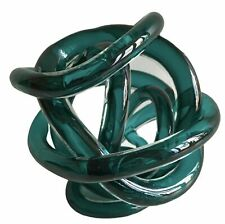 More details for torre & tagus teal knot blown glass centrepiece large 5