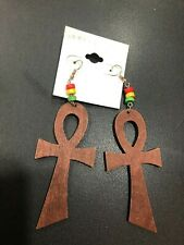 WOOD BROWN ANKH WITH RED GOLD GREEN BEADS EARRINGS FASHION JEWELLERY 10cm x 4cm