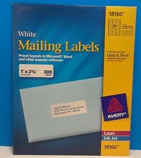 AVERY - WHITE MAILING LABELS - 300 COUNT - LASER INK JET  - NEW