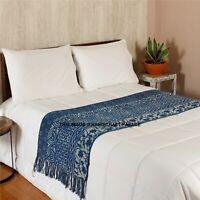 Indigo Hand Print Bed Runner Bedding Bedroom Fit Single Double King Floor Mat