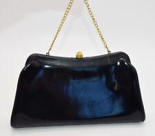 Black Faux Leather PVC Gold Tone Clutch Wallet Purse Vintage