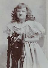 CABINET PHOTO YOUNG GIRL POSED AT CHAIR-BROOKLYN NY C.1900-STONE PHOTOGRAPHER