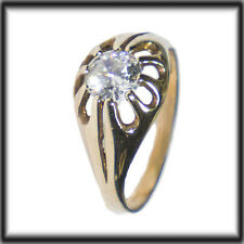 9ct Gold Simulated Diamond 10 Claw Solitaire Gypsy Ring SIZE O jewellery company