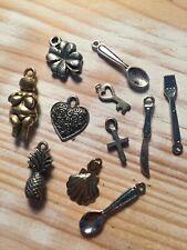 mixed metal charms pineapple shell lucky clover heart cutlery cross key