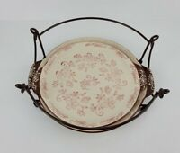 Temptations By Tara Brown White Floral Circle Serving Platters With Metal Holder