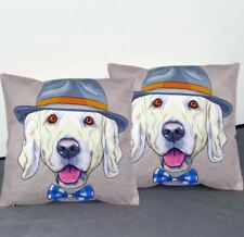 Set of 2 Decorative Square Throw Pillow Case 40x40cm Cotton-Mr. Dog (Multicolor)