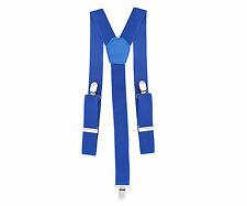 35mm Mens Braces Suspenders Elastic Wide in Royal Blue Clip on Trousers Jeans