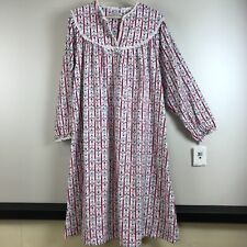 NEW Lanz of Salzburg size Large Flannel nightgown Blue Red heart Stripe