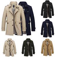 Men Trench Coat Windbreaker Jacket Lapel Collar Parka Parka Spring Fall M-5XL US